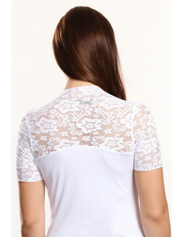 Christina блузка белая короткий рукав вискоза с кружевом тмViolana, Польша