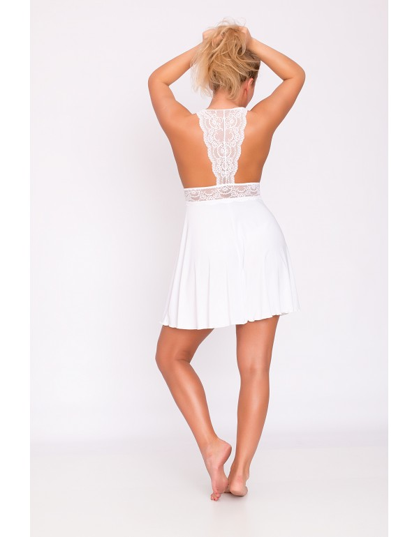 Белая ночная рубашка сетка+кружево  мод. 115, тмAkcent, Польша
