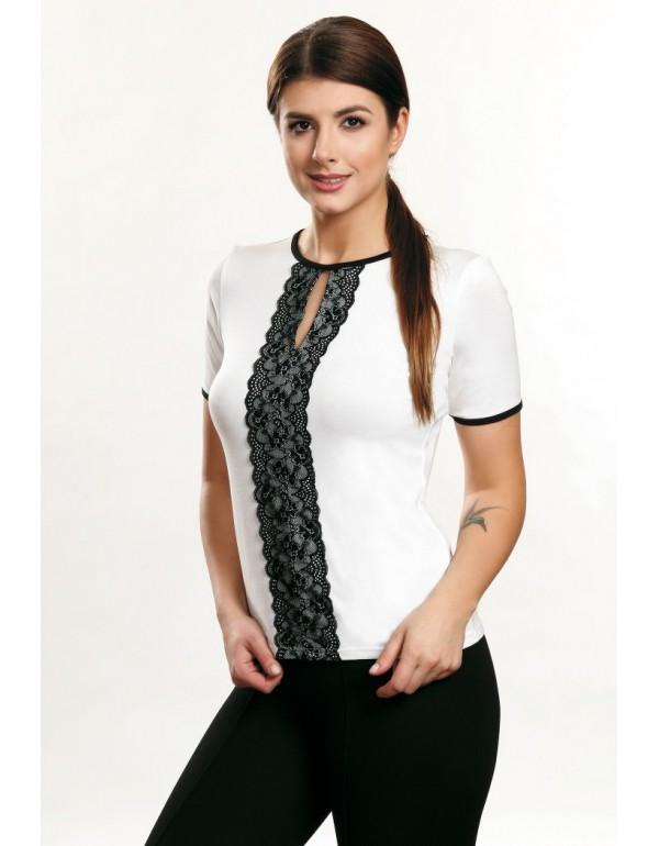 Chiara блузка с кружевной полоской короткий рукав тмViolana, Польша