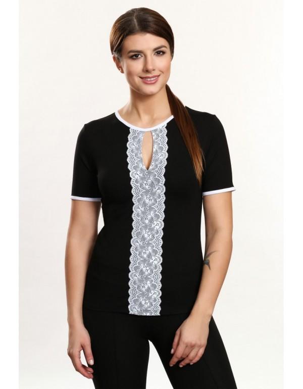 Chiara черная блузка с кружевной полоской тмViolana, Польша