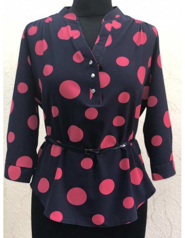 Женская блузка 3/4 рукав горох тмBаllCollection, Польша