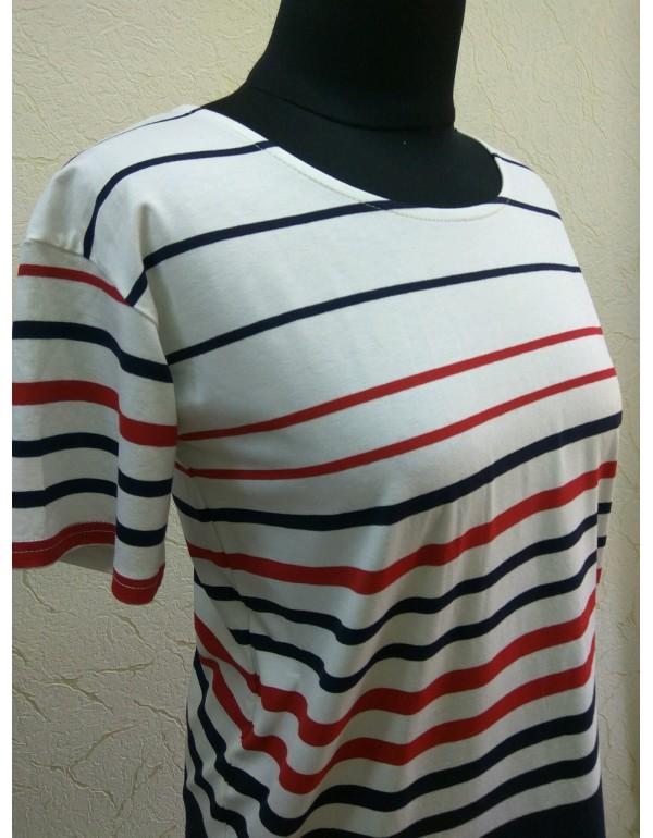 Белая футболка в красно-синюю полоску мод. 1015 тмM.Hajdan, Польша