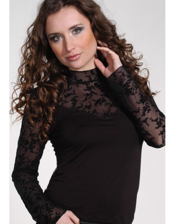 Элегантная чёрная блуза  длинный рукав BELLA тмViolana, Польша