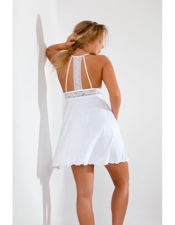 Ночная кружевная рубашка на бретельках белая мод. 101 тмAkcent, Польша