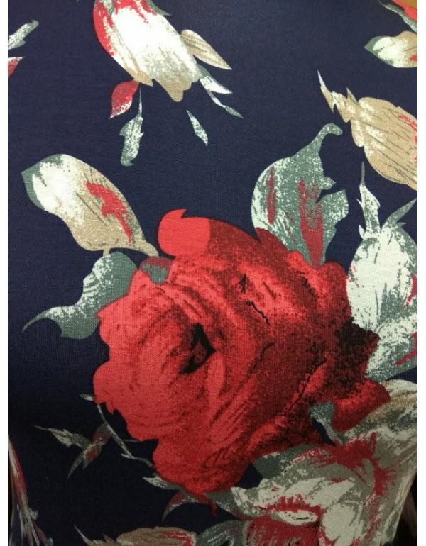 Гольф синий цветы вискоза 42р.тмJustti, Польша