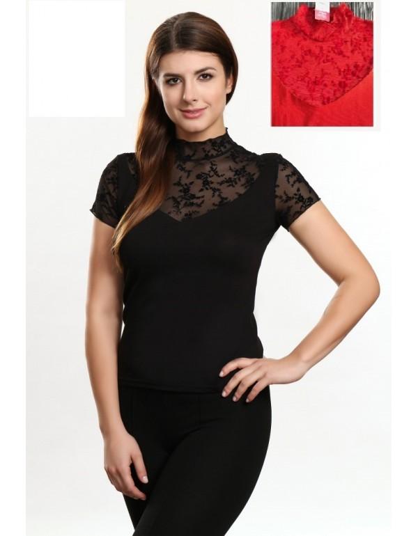 Элегантная чёрная блуза BELLA короткий рукав тмViolana, Польша