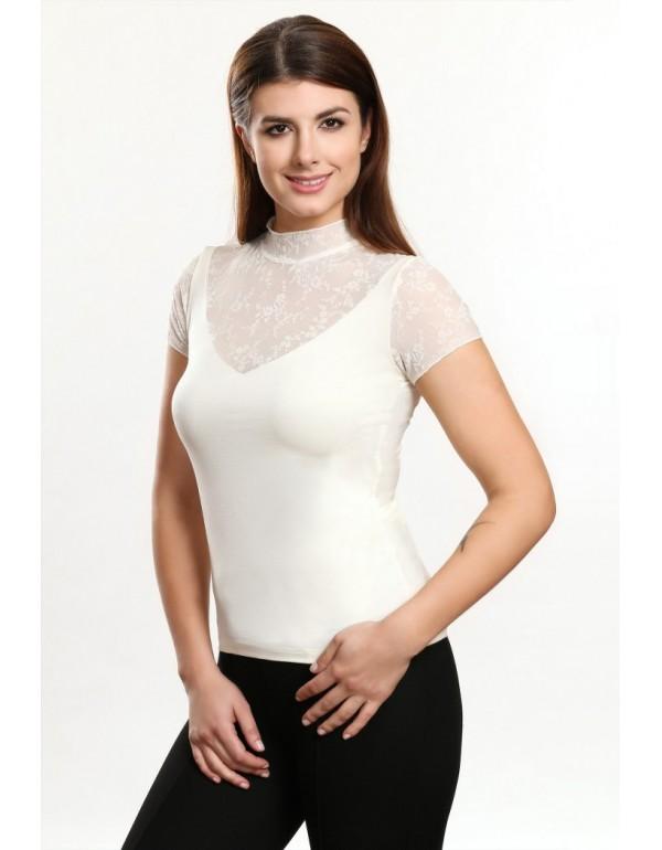 Bella блузка короткий рукав  цвета экрю и красный  тмViolana, Польша