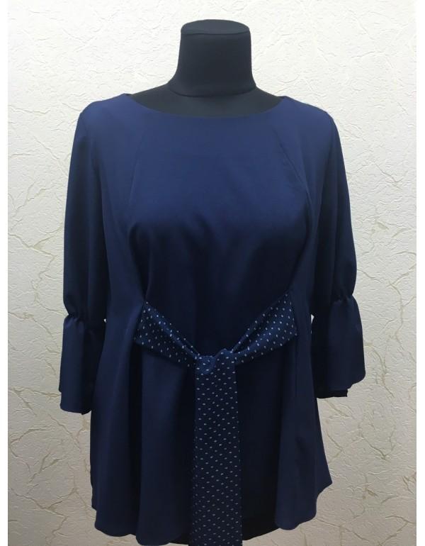 Нарядная блуза с кокардой темно-синяя тмViolana, Польша