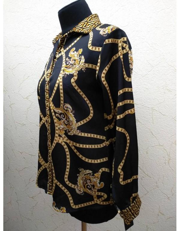 Стильная женская атласная блузка с рисунком 46-48 размер