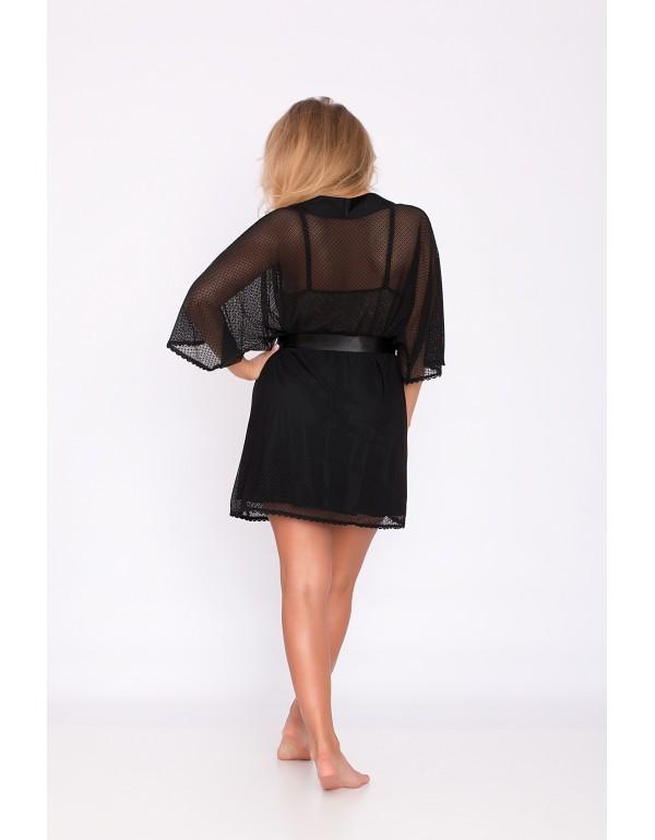 Черный полупрозрачный пеньюар-сетка мод. 113 тмAkcent, Польша