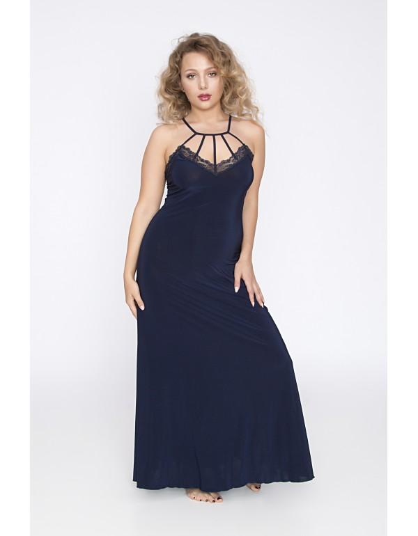 Элегантная ночная рубашка в пол цвета индиго мод. 121 тмAkcent, Польша