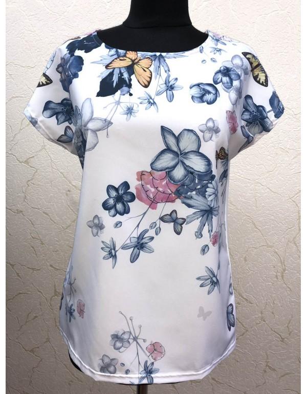 Летняя женская блузка Бабочки тмM.Hajdan, Польша