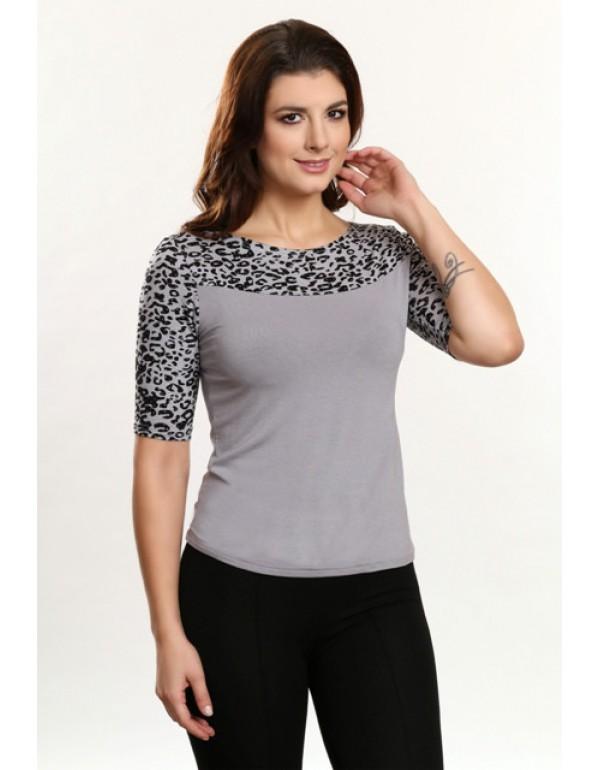 Megan блузка с леопардовой вставкой 44p Польша