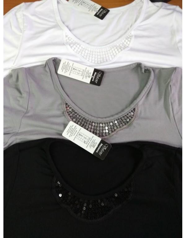 Natasha блузка трикотаж серый белый 46 50 52р Польша
