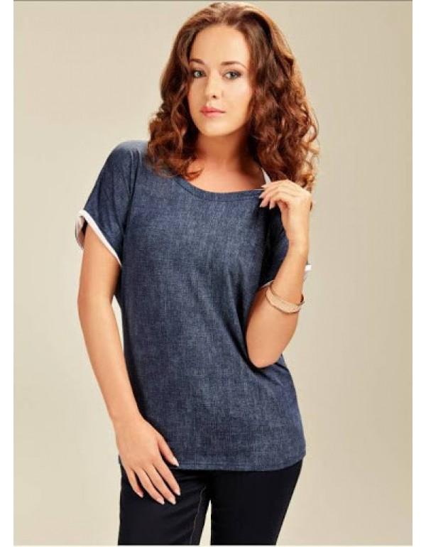 Блузка темно-синяя под джинс 001