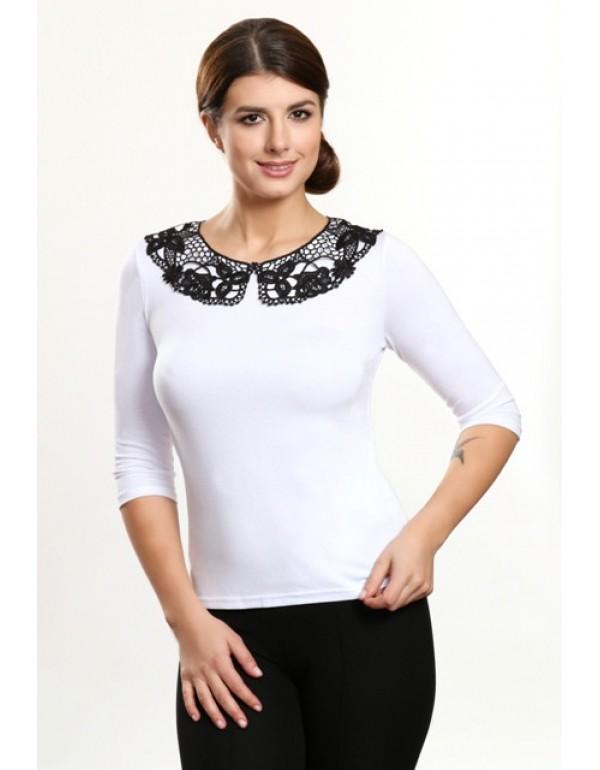 Вискозная блуза с ажурным воротником ERIN тмViolana, Польша
