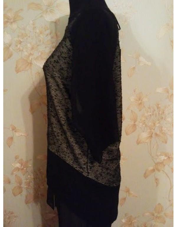 Блузка серо-черная с шифоновой отделкой