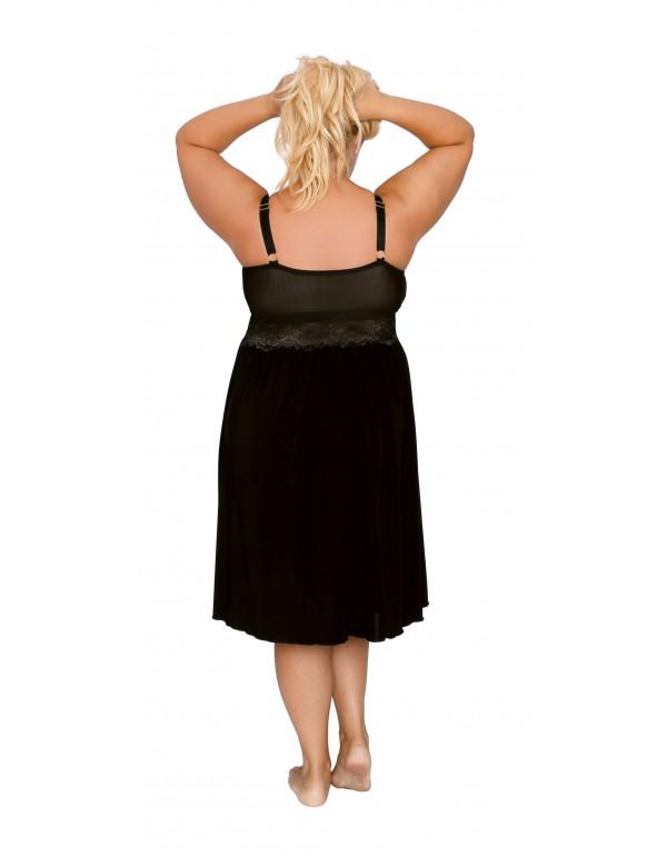 Ночная сорочка чёрная на бретелях мод. 500  тмAkcent, Польша р. 40-48