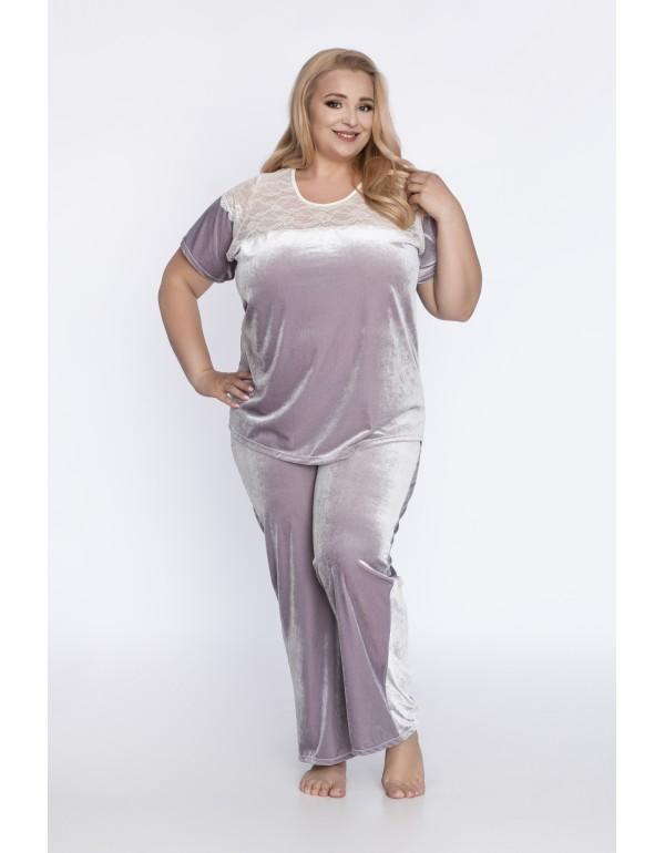 Лиловая велюровая пижама с кружевом от  тмAkcent, Польша