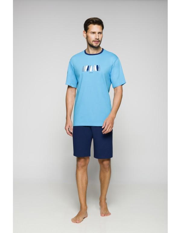 Двухцветная хлопковая мужская пижама шорты  тмRegina, Польша р. M-XL