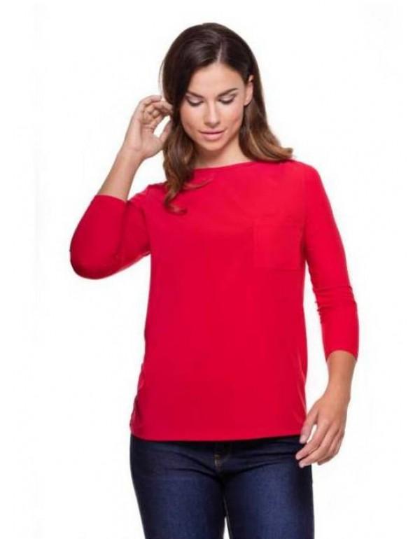 Красная блузка в европейском стиле с карманом