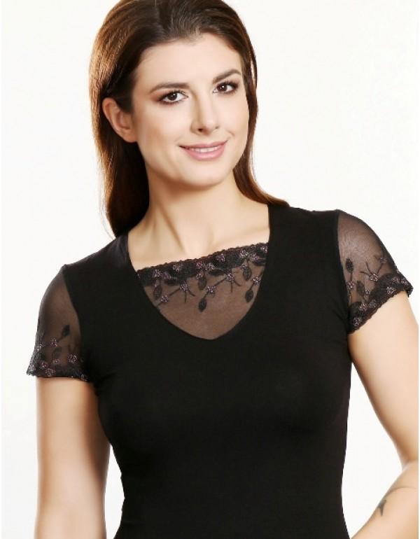 Nora черная блузка короткий рукав тмViolana, Польша