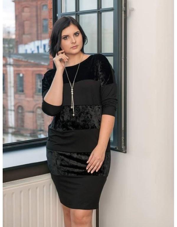 Черное нарядное платье с  бархатными вставками тмAG-mar, Польша