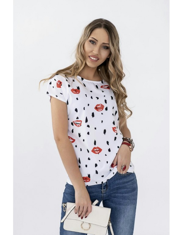Белая летняя  блуза с рисунком тмM.Hajdan, Польша мод. 1097