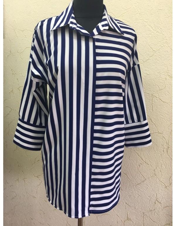 Блузка в оригинальную полоску от тмMonika, Польша