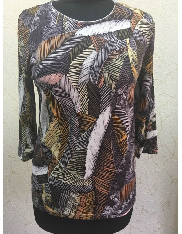 Женская блузка 3/4 рукав с лиственным принтом от тмAGA, Польша