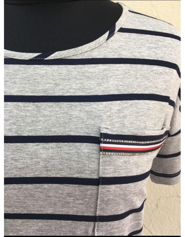 Вискозная футболка в полоску мод. 1057