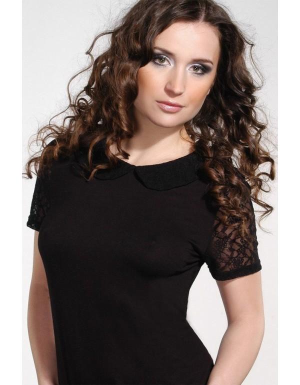 Jacke черная блузка короткий рукав тмViolana, Польша