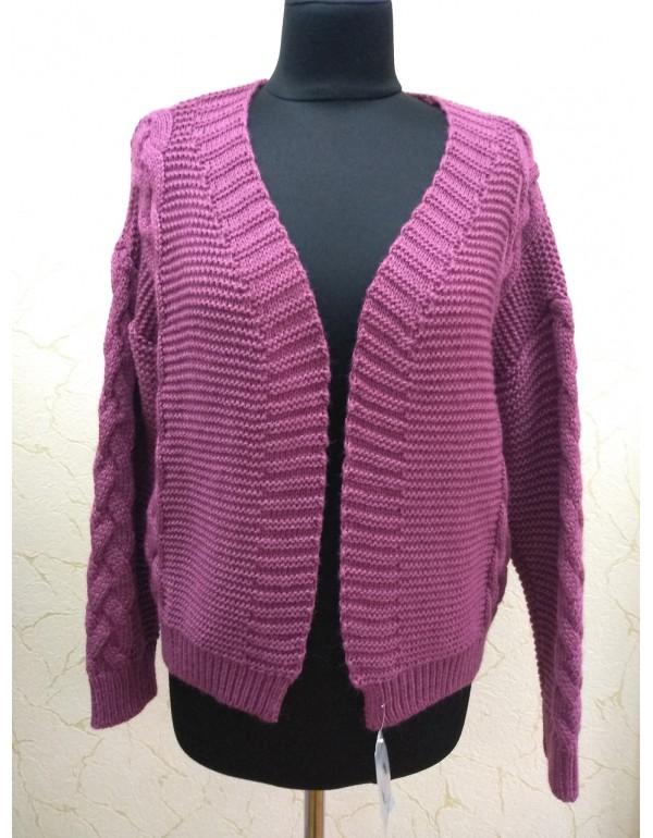Теплый светло бордовый вязаный свитер тм Banera Styl, Польша размер L-2XL