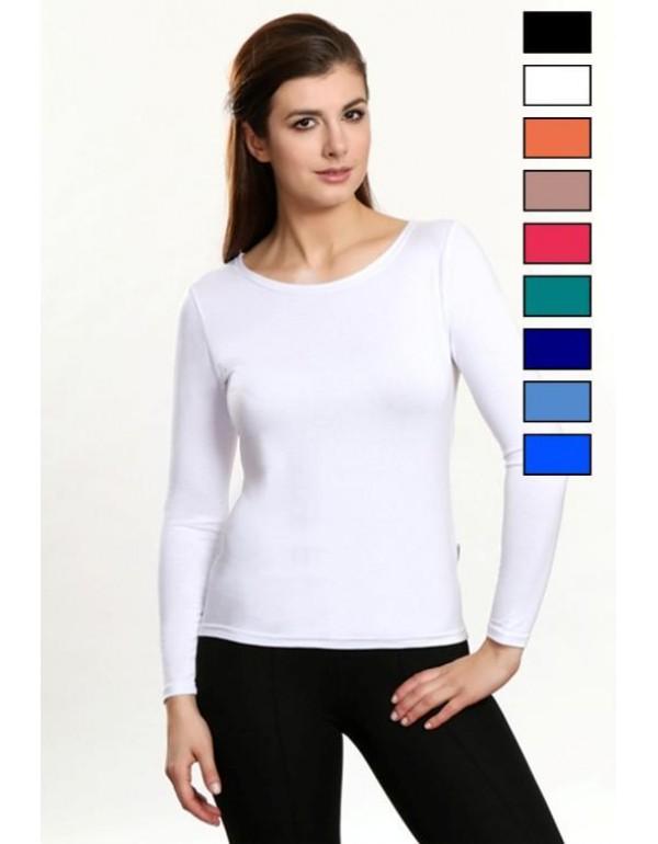 Однотонная женская мокка футболка с длинным рукавом Tosca тмViolana, Польша